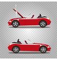 set of broken cartoon red cabriolet sport car vector image