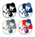 set of father and baby emblem vector image
