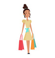 shopping girl character with paper bags in her vector image