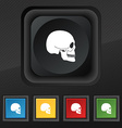 Skull icon symbol Set of five colorful stylish vector image
