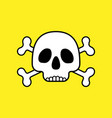 skull with bones on yellow vector image vector image