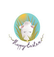 sweet easter egg lamb in the grass and oval sky vector image vector image