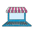 technology laptop to business information vector image vector image