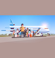travelers with luggage standing line queue going vector image