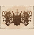 two lions with shield and swords vector image vector image