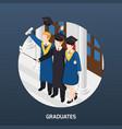 university graduates isometric vector image