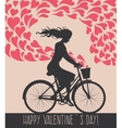 Valentine card with girl on bike vector image vector image