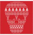 winter pattern sugar skull on red background vector image vector image