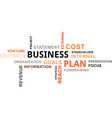 word cloud business plan vector image vector image