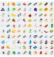 100 vigorous icons set isometric 3d style vector image vector image