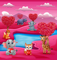 a group of animals celebrate valentines day by the vector image vector image