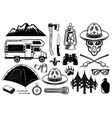 alien boy scout and camping set outdoor vector image vector image