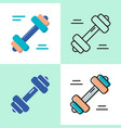 barbell icon set in flat and line style vector image