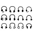 black headphone headset icons vector image vector image