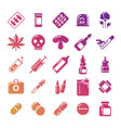 bright medicine silhouette icons set vector image