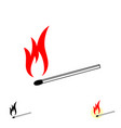 burning match stick with fire flame vector image vector image