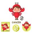 cancer collection zodiac signs vector image vector image