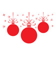 christmas card with colorful red balls vector image vector image