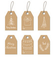 christmas gift tags hand drawn craft labels vector image vector image