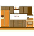 color silhouette of kitchen cabinets with stove vector image vector image