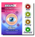 colored contact lenses advertising poster vector image vector image