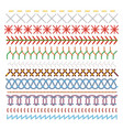 colored sewing stitches set pattern in lines vector image vector image