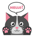 cute cartoon black cat with speech bubble vector image vector image