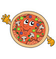 cute smiling pizza vector image vector image
