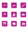 depart icons set grunge style vector image vector image