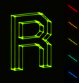 EPS10 glowing wireframe letter R - easy to change vector image vector image