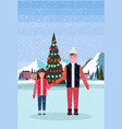 father and daughter skaters standing ice rink vector image