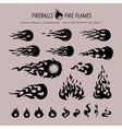 fireballs and flame icons vector image vector image
