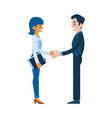 flat man woman business handshake deal vector image vector image