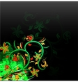 floral green on grunge background vector image vector image