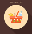 Fresh food concept Basket with foods in fla vector image