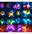 glowing glass squares on dark space background vector image
