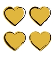 Golden Heart Icon Set vector image