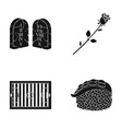 grave rose and other web icon in black style vector image vector image