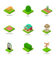 green yard icons set isometric style vector image vector image
