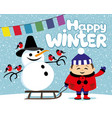 happy child and a snowman on a sled vector image