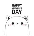 happy valentines day cute cat face head contour vector image vector image