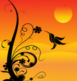 humming bird and flowers vector image vector image
