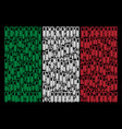 italy flag collage of test tube items vector image vector image