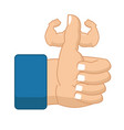 like fitness strong thumbs up with big muscles vector image vector image