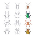 line and flat beetles cockroach and spider vector image vector image