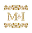 m and i vintage initials logo symbol letters vector image vector image