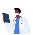 male doctor in uniform wearing mask to prevent vector image vector image