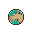Mastiff Dog Mongrel Head Circle Cartoon vector image vector image