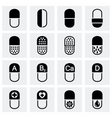 Pills icon set vector image vector image