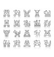robot dog simple black line icons set vector image
